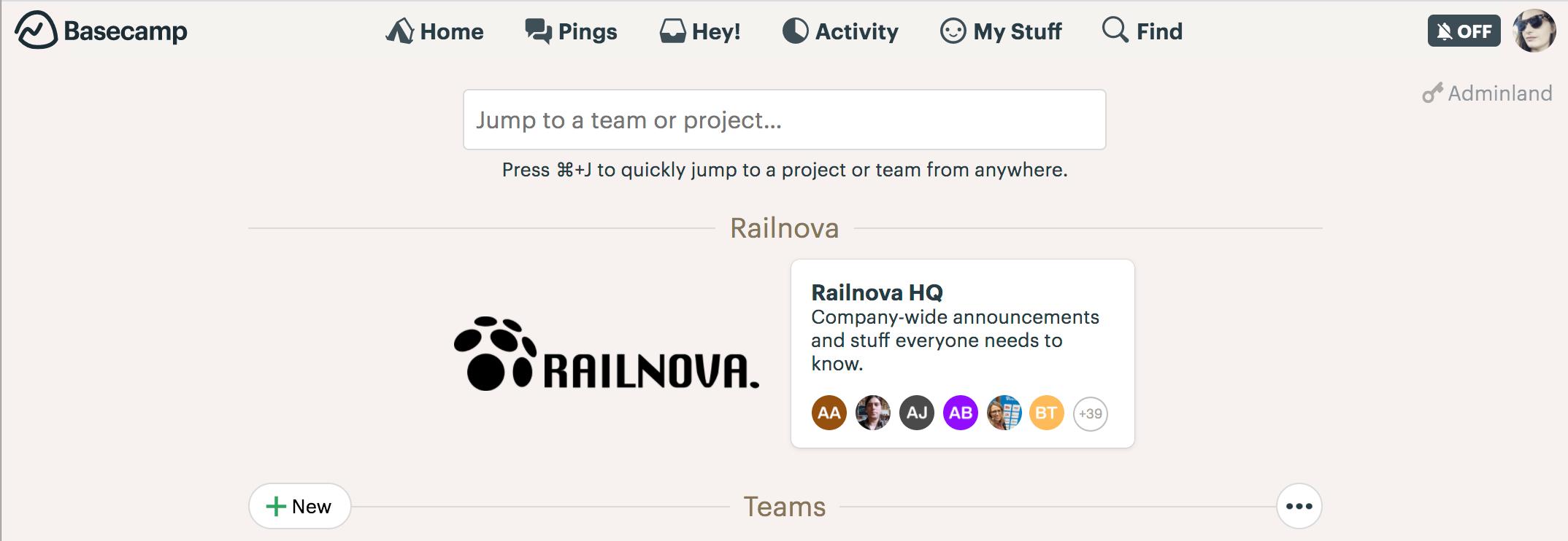 Basecamp is Railnova's communication backbone