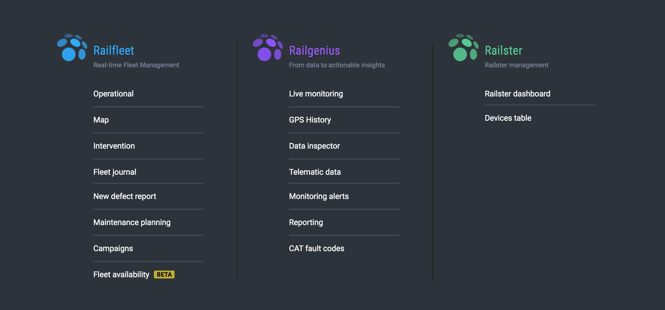 New menu on Railnova software platform